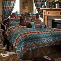Turquoise Chamarrow Queen Bed Set
